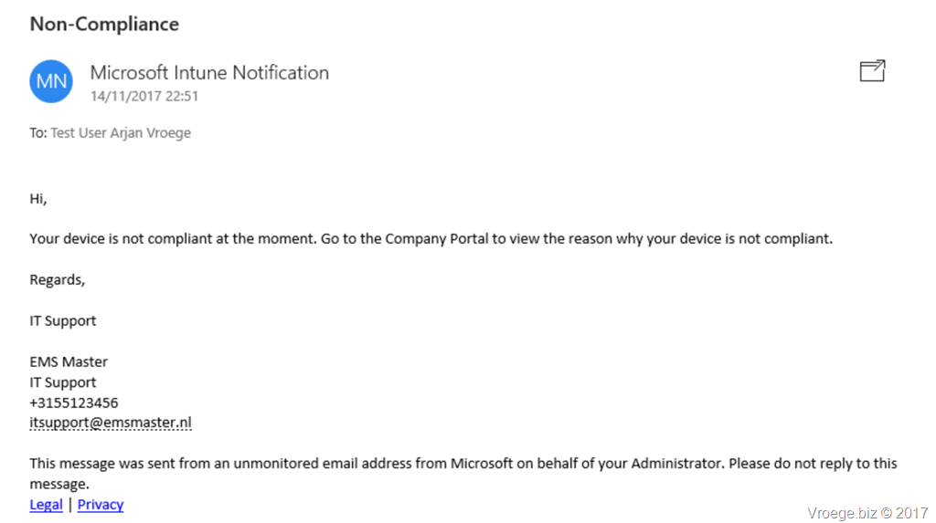 Intune Device Compliance Notifications – The Microsoft